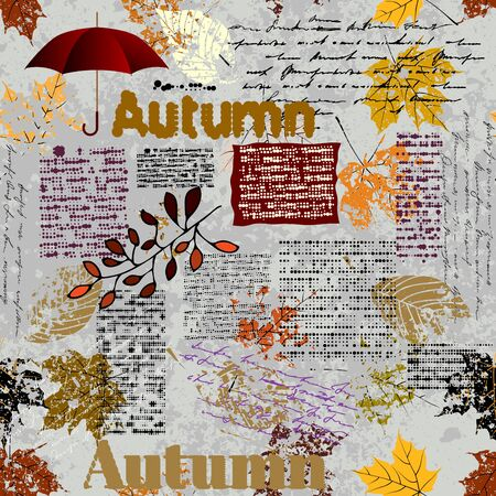 Seamless background pattern. Imitation of a abstract vintage newspaper. Unreadable text. Stok Fotoğraf - 129489721