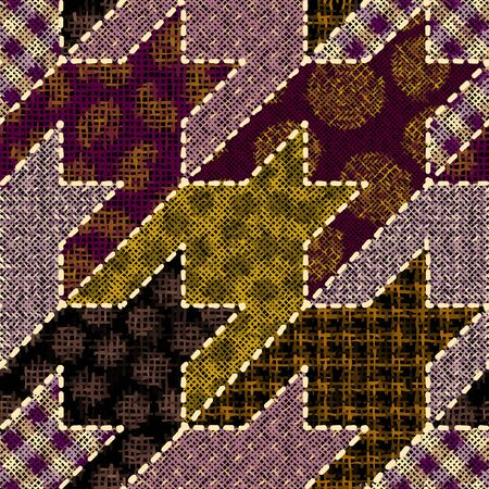 Imitation of indian patchwork pattern with texture canvas Hounds-tooth pattern. Vector seamless image. Archivio Fotografico - 129489722