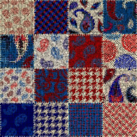 Seamless pattern. Imitation of a patchwork pattern of rough canvas. Vector image. Archivio Fotografico - 129489723