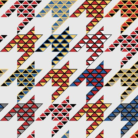 Seamless geometric pattern. Classic Hounds-tooth pattern in a collage style. Vector image. Archivio Fotografico - 129489728