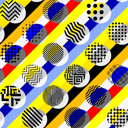 Seamless geometric pattern. Yellow pattern in a patchwork collage style. Vector image. Archivio Fotografico - 129489729