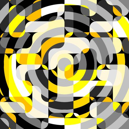 Seamless geometric pattern. Yellow pattern in a patchwork collage style. Vector image. Archivio Fotografico - 129489725