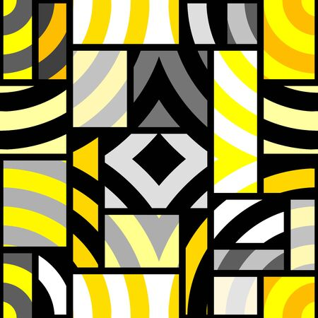 Seamless geometric pattern. Yellow pattern in a patchwork collage style. Vector image. Archivio Fotografico - 129489731