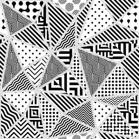 Seamless pattern. Classic polka dot pattern in geometric collage style. Vector image. Archivio Fotografico - 129489743