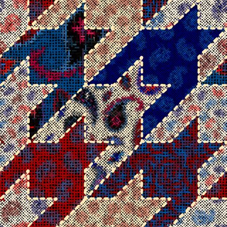 Imitation of indian patchwork pattern with texture canvas Houndstooth pattern. Vector seamless image.