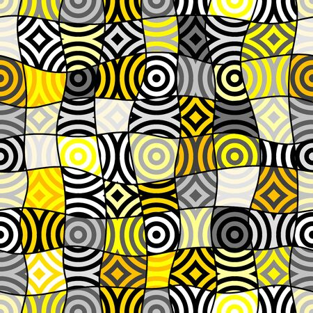 Seamless geometric pattern. Yellow pattern in a patchwork collage style. Archivio Fotografico - 129489775