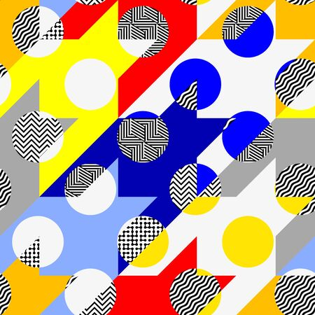 Seamless pattern. Classic polka dot pattern in geometric collage style. Archivio Fotografico - 129489778