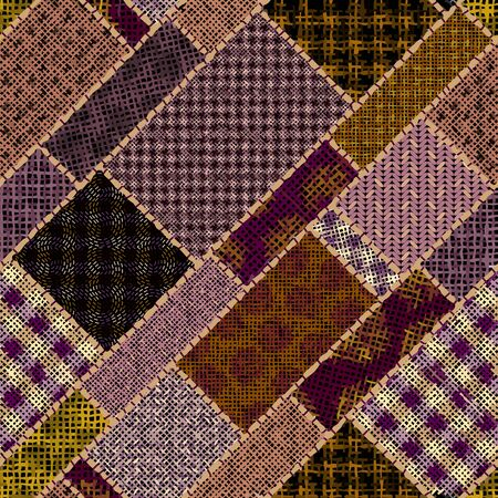 Imitation of indian patchwork pattern with texture canvas Houndstooth pattern. Archivio Fotografico - 129489779