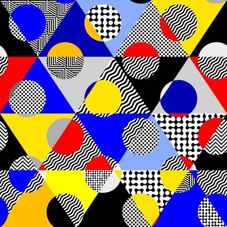 Modèle sans couture. Motif à pois classique dans un style de collage géométrique. Vecteurs