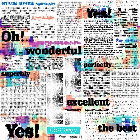 Naadloze achtergrondpatroon. Imitatie van halftone krant met werelden Wonderful, excellent en Yes. Vector afbeelding. Vector Illustratie