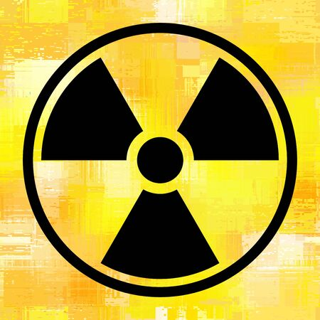 Sign radiation on grunge yellow background. Vector illustration. The background is seamless.