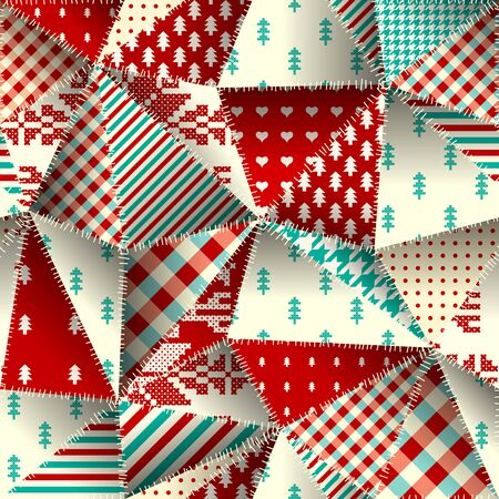 Seamless background pattern. Christmas Patchwork pattern. Vector image  イラスト・ベクター素材