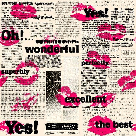 원활한 배경 패턴입니다. 세계 Wonderful, 우수 및 Yes를 가진 하프톤 신문의 모방. 벡터 이미지입니다.