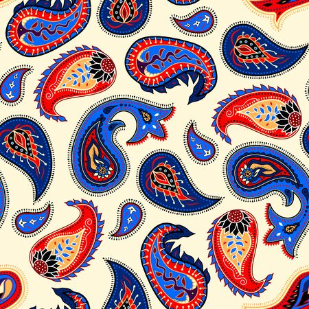 Abstract paisley pattern. Seamless vector background. Polygonal effect.