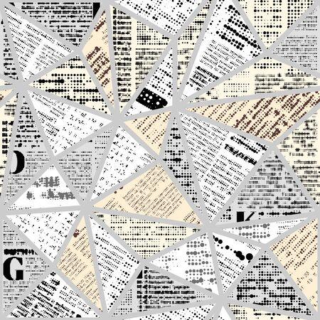 Motif de fond sans couture. Imitation d'un journal vintage abstrait dans un style de conception de bloc. Texte illisible.
