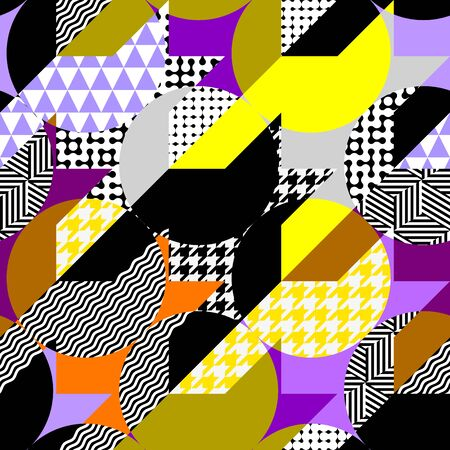 Seamless geometric pattern. Classic Hounds-tooth pattern in a collage style. Vector image. Illusztráció