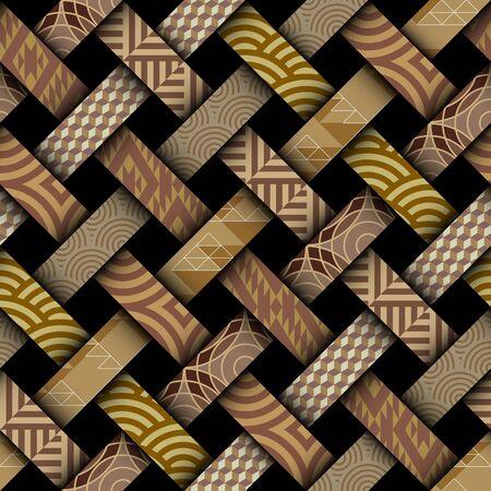 Seamless vector image. Art Deco style. Imitation of interweaving ribbons.