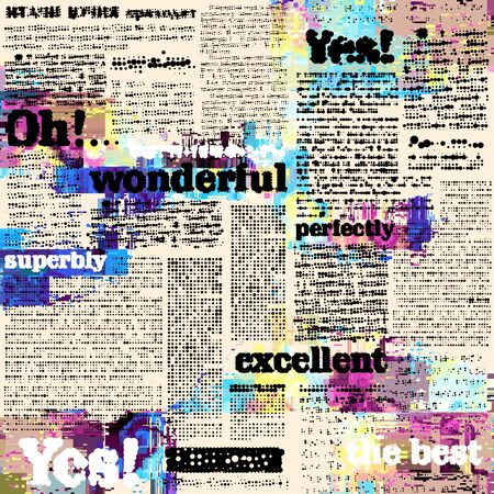 Seamless background pattern. Imitation of halftone newspaper with worlds Wonderful, excellent and Yes. Vector image.