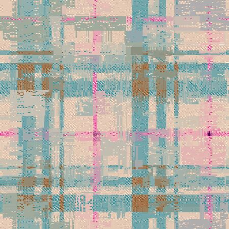 Abstract seamless pattern with imitation of a grunge plaid surface. Vector image. 일러스트