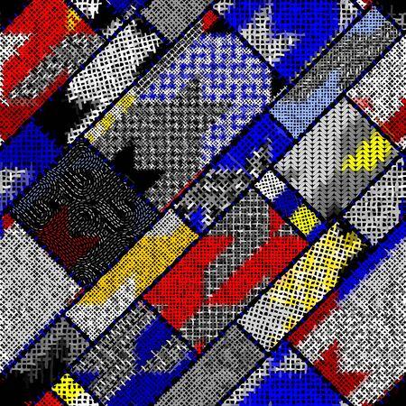 Imitación del patrón de patchwork indio con lienzo de textura Patrón de dientes de perro. Vector de imagen perfecta. Ilustración de vector