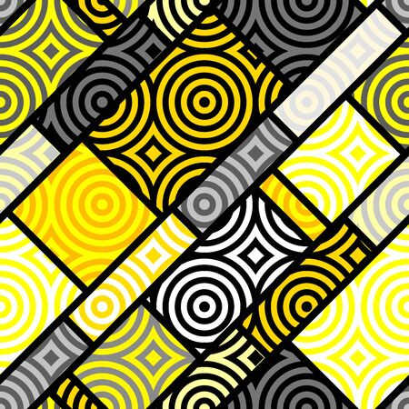 Seamless geometric pattern. Yellow pattern in a patchwork collage style. Vector image. Ilustrace