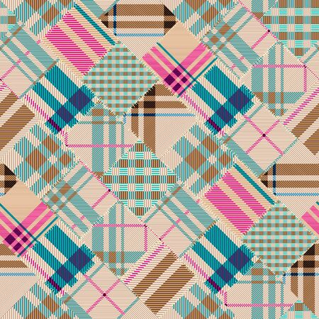 Seamless background pattern. Patchwork pattern with plaid patches. Vector image Ilustração
