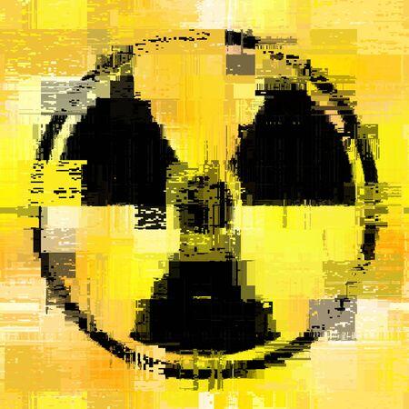 Signer le rayonnement sur fond jaune grunge. Illustration vectorielle. L'arrière-plan est transparent.