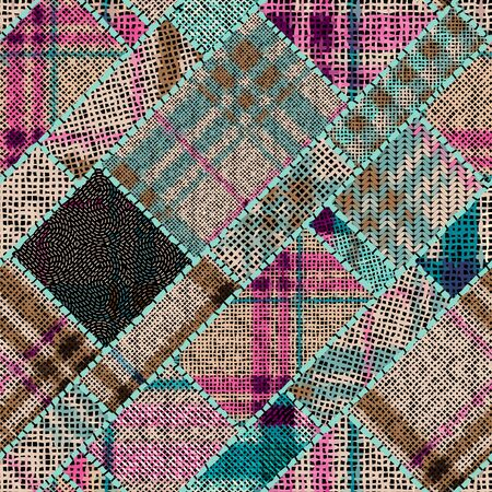 Imitation of indian patchwork pattern with texture canvas Hounds-tooth pattern. Vector seamless image.