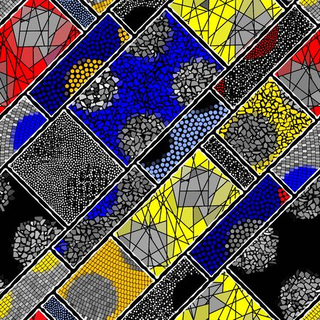 Seamless background pattern. Mosaic art pattern in block design style.