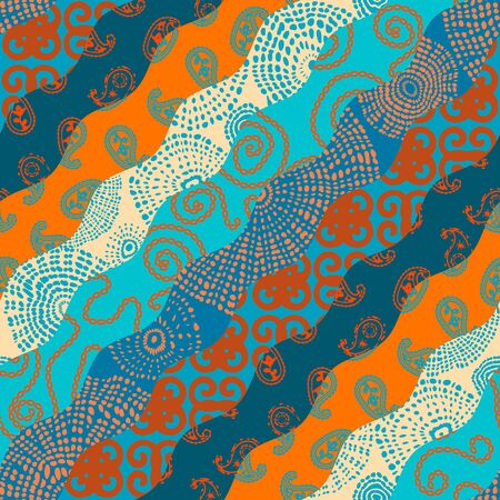 Seamless background pattern. Wavy patchwork pattern in indian style. Vector image