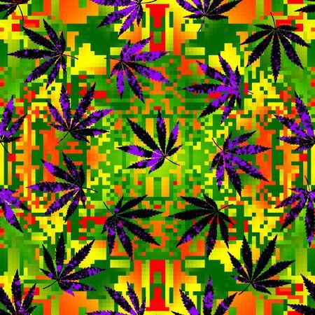Seamless background pattern. Rastafarian chevron pattern and grunge hemp leaves. Illustration