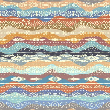 Seamless background pattern. Ethnic tribal pattern on wavy background. Vectores