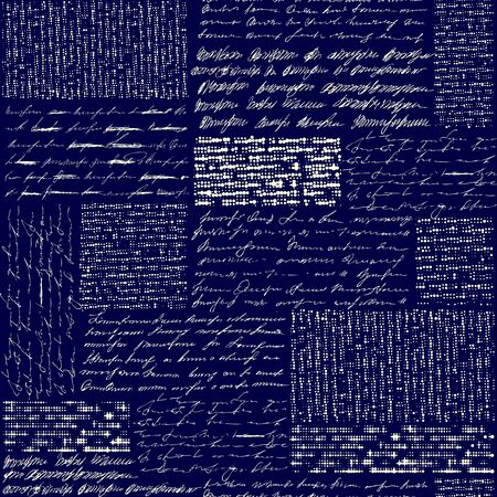 Seamless background pattern. Imitation of a abstract vintage lettering. Unreadable text.