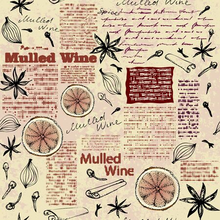 Seamless pattern with sketches of spices. Mulled wine pattern.