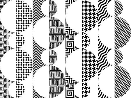 Geometric abstract black and white pattern. Seamless geometric background. Vector Illustration