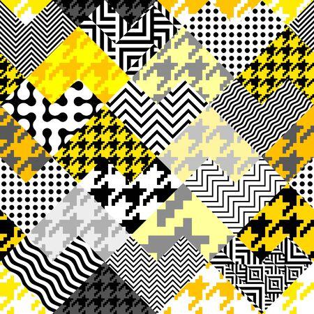 Motivo geometrico senza soluzione di continuità. Classico motivo pied-de-poule in stile collage. Vettoriali