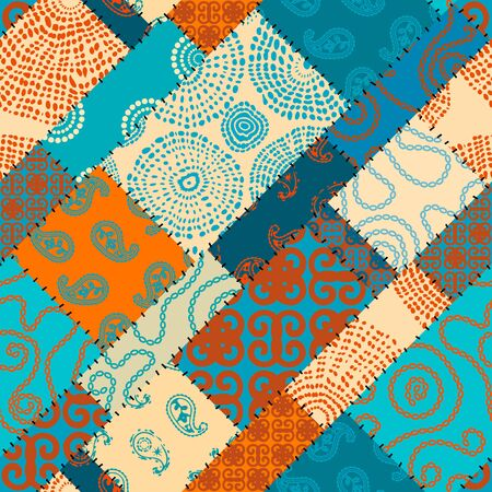 Seamless background pattern. Patchwork pattern in Indian style.
