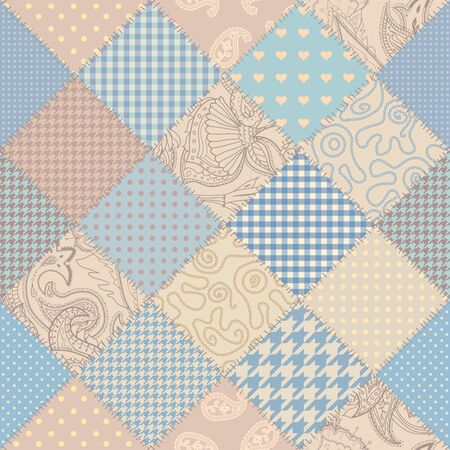Seamless background pattern. Beige patchwork pattern. Vector image
