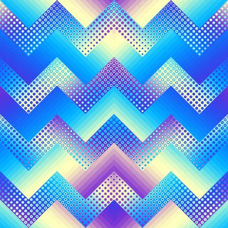Blue chevron pattern in low poly style. Pixel art style. Vector image.