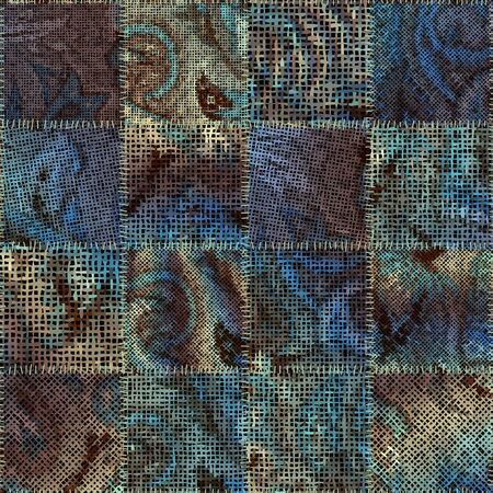 Seamless pattern. Imitation of a patchwork pattern of rough canvas squares. Vector image. Çizim