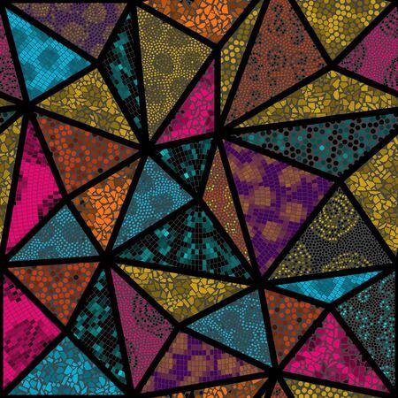 Seamless mosaic art pattern. Abstract art background.. Vector image. Çizim