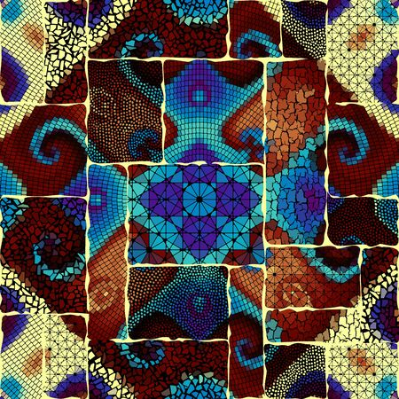 Carved waves of ornamental mosaic tile patterns. Different mosaic textures. Vector image.
