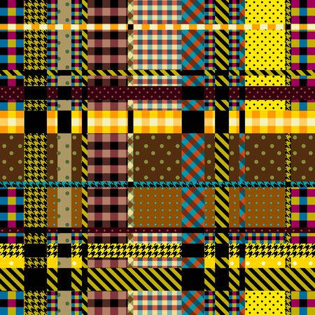Seamless background pattern. Plaid pattern in patchwork style. Vector image