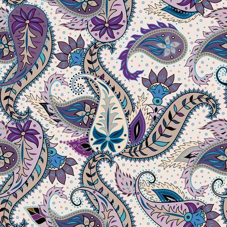 Paisley-Muster. Nahtloses Muster im indischen Stil. Textur des Stoffes. Vektorbild. Vektorgrafik