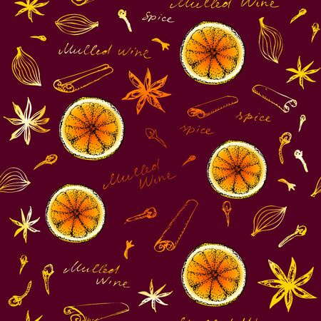 Seamless pattern with sketches of spices. Mulled wine pattern. Vector image.