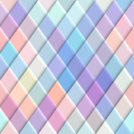Seamless abstract background. Pastel rhombuses pattern in low poly style. Effect of a relief. Vector image. Çizim