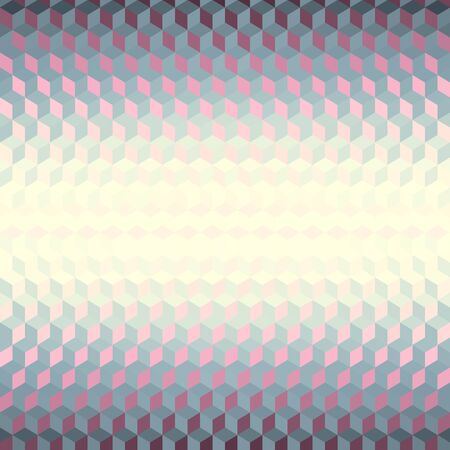 Geometric abstract pattern in low poly style. Effect of a glass. Small cubes. Vector image. Çizim