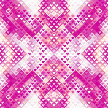 Abstract geometric pattern in low poly style. Pink hearts. Vector image.