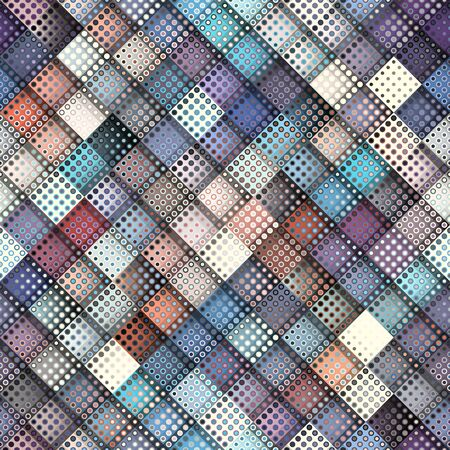 Geometric abstract pattern in low poly pixel art style. Polka dot pattern on low poly background. Vector image.