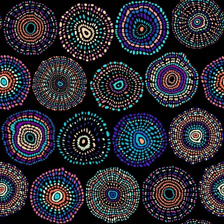 Seamless background pattern. Pattern with ethnic circles. Vector image. Illusztráció